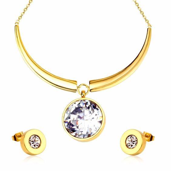 Conjunto brincos e pendente de aço inoxidável banhado a ouro com pedra zircão