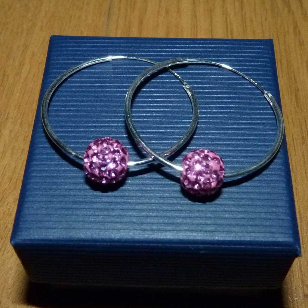 Brincos / argolas prata 925 c/ cristais preciosa rosa