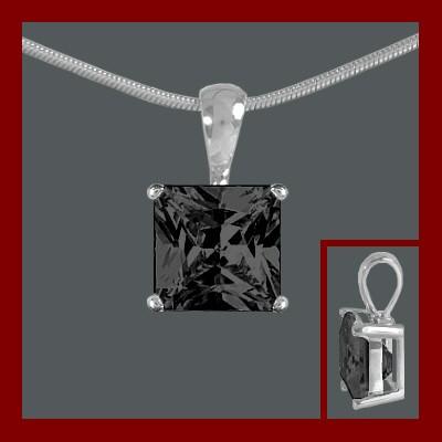Pendente / Pingente de prata 925 com pedra Zircônia cúbica preta (quadrado)