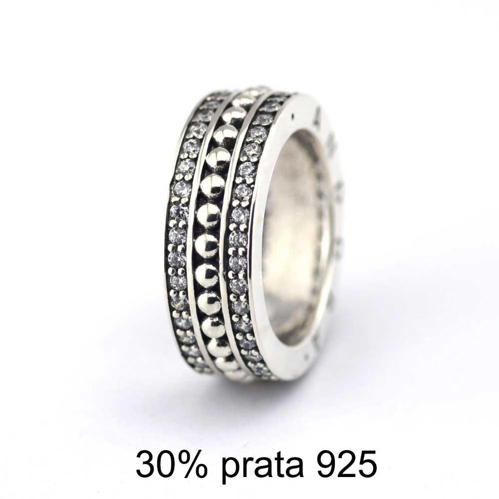 Anel / aliança de prata 925 (30%) compativel com pandora