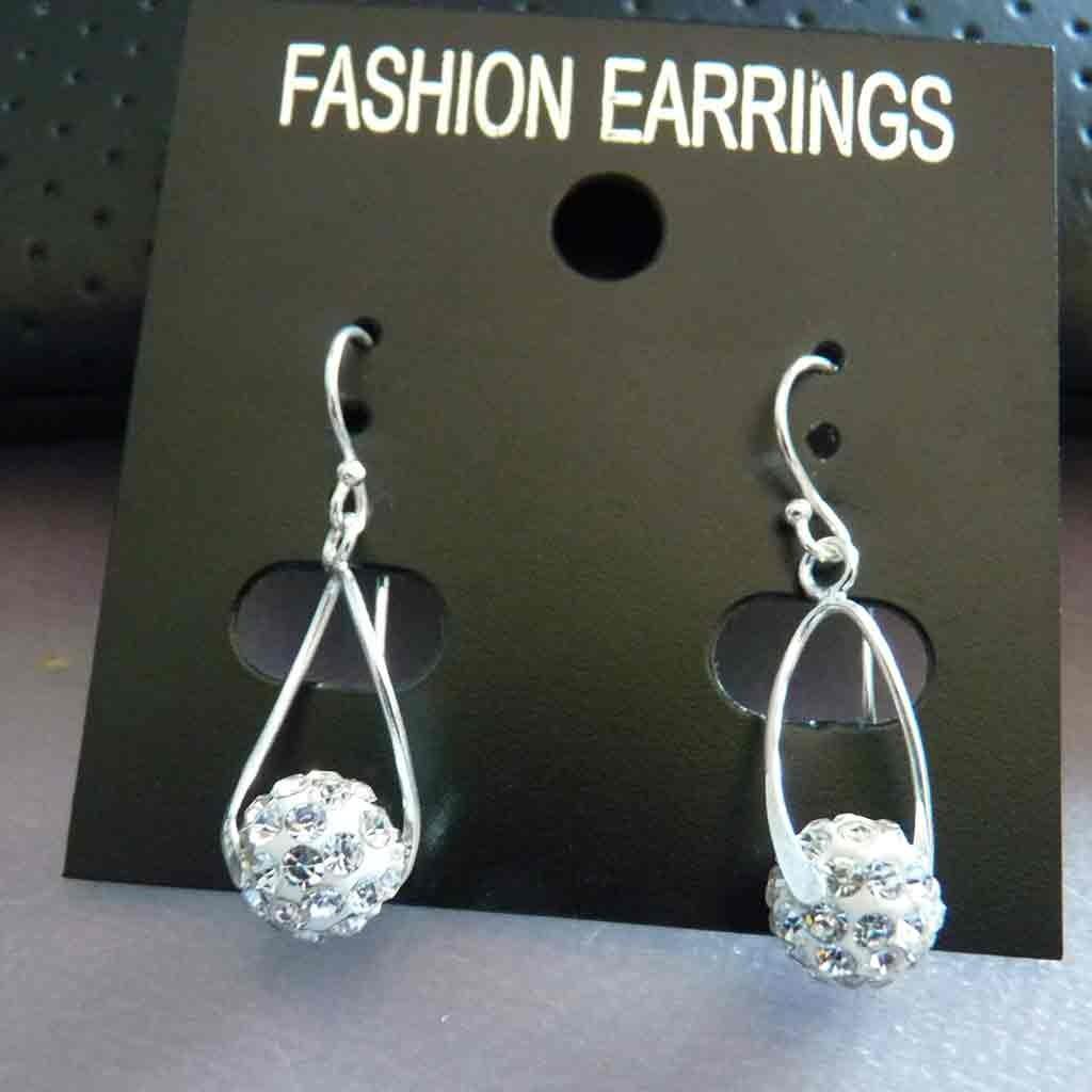 Brincos prata 925 c/ cristais preciosa Brancos