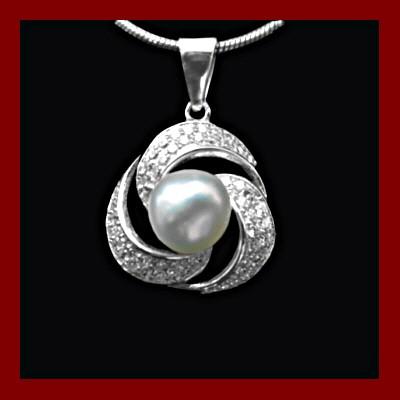 Pendente / Pingente de prata 925 com pedras zircão e pérola natural