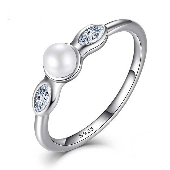Anel / aliança de prata 925 com pedras zircão e pérola natural compatível com pandora