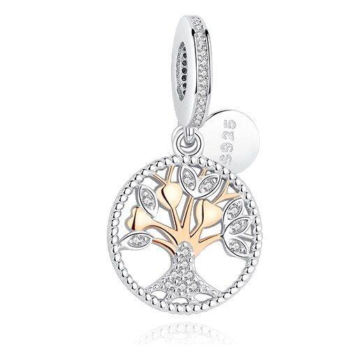 Conta pingente de prata 925 compatível com pandora (árvore da vida)