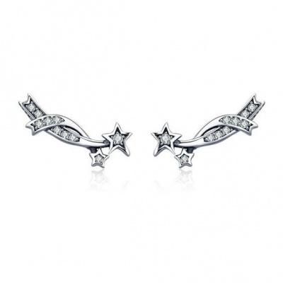 Brincos de prata 925 (entrelaçado estrelas)