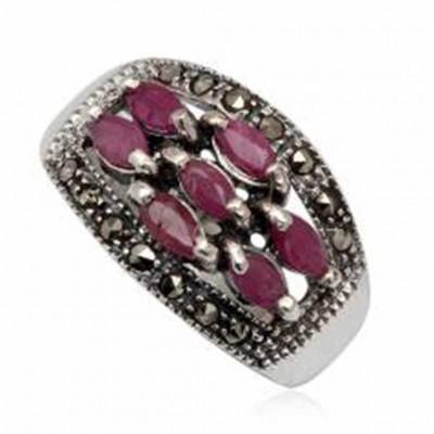 Anel de prata 925 com rubis e marcasitas