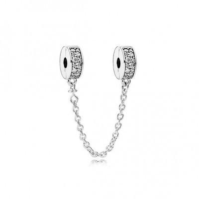 Corrente de prata compatível com pandora (clip)