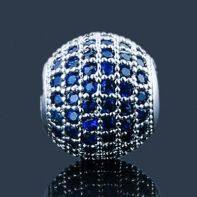 Conta de aço compatível com pandora com cristais azuis