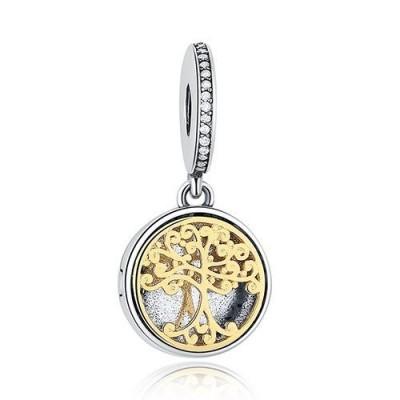 Conta pingente de prata 925 - bicolor (árvore família)