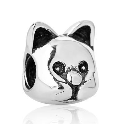 Conta banhada a prata compatível com pandora (gato)