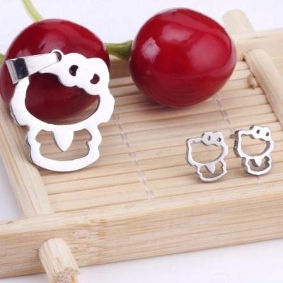 Conjunto pingente / pendente + brincos de aço inoxidável (Hello Kitty)