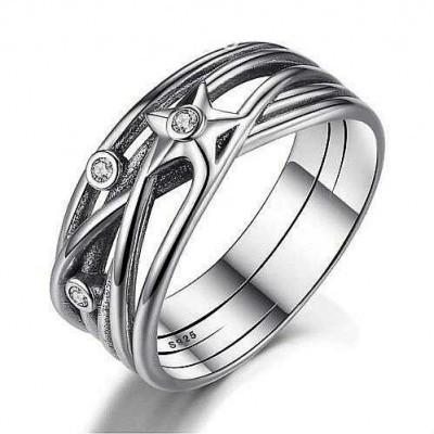 Anel / aliança de prata 925 com pedras zircão compatível com pandora (estrela)