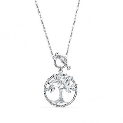 Fio de prata 925 com pendente - árvore da vida / família e pedras zircão