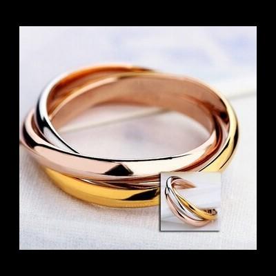 Aliança / anel de aço estilo cartier com 3 cores