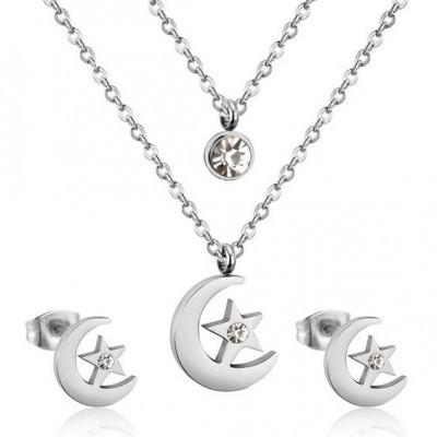 Conjunto Fio duplo pingente / pendente + brincos de aço inoxidável (Lua + estrela)