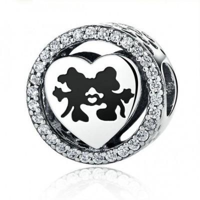 Conta de prata 925 compatível com pandora (Minnie&Mickey)