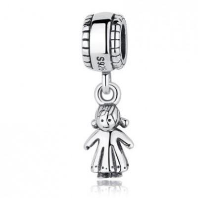 Conta pingente de prata 925 compatível com pandora (menina)