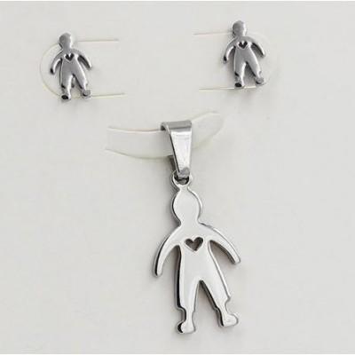 Conjunto pingente / pendente + brincos de aço inoxidável (menino)