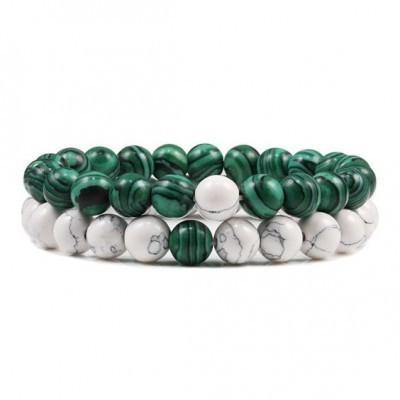 Pulseira de pedra natural (verde/branco) - 8mm