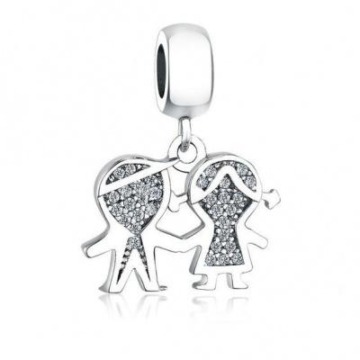 Conta pingente de prata 925 (menino e menina)