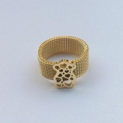 Anel de aço inoxidável compatível com Tous, cor ouro