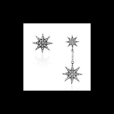 Brincos de prata 925 com pedras zircão (estrela)