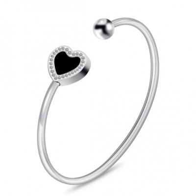 Pulseira de aço inoxidável - Cristais/pedra preta (coração)