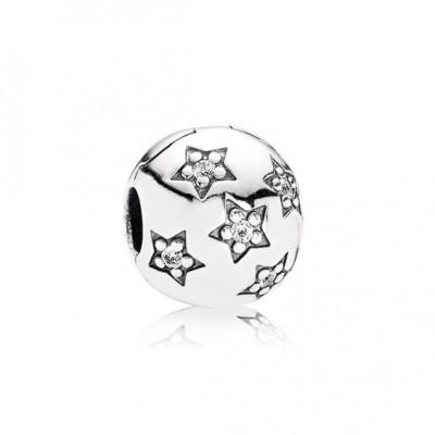 Conta de prata 925 compatível com pandora (estrelas) - clip