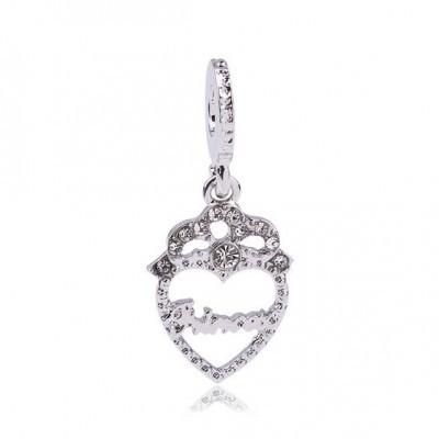 Conta pingente banhada a prata 925 compatível com pandora (princess)