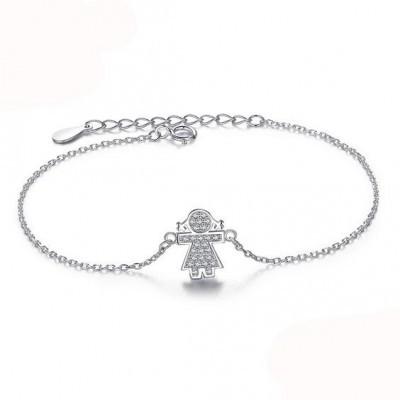 Pulseira de prata 925 com pedras zircão (menina)