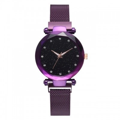 Relógio de aço inoxidável (roxo)