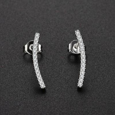 Brincos banhados a prata com zircões