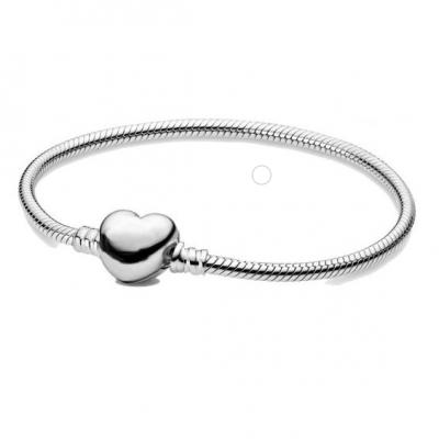 Pulseira banhada a prata 925 - Clip coração