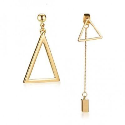 Brincos pendentes de aço inoxidável cor Ouro (triângulo)