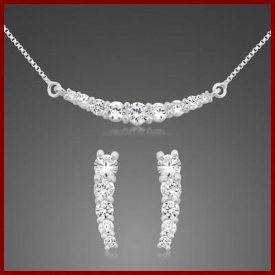 Conjunto brincos e pendente prata 925 com pedras zircão