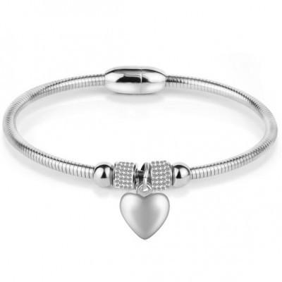Pulseira de aço inoxidável com fecho magnético e cristais - coração