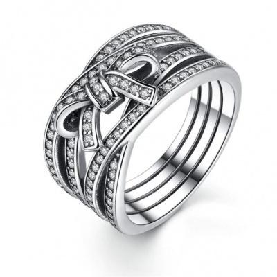 Anel / aliança de prata 925 compatível com pandora (laço)
