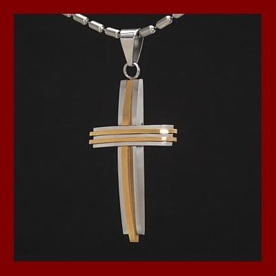 Pendente / Pingente de aço inoxidável cor prata e ouro em forma de cruz com fio