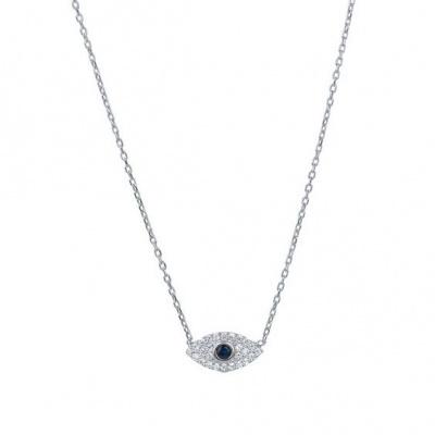 Fio com pendente / pingente de prata 925 com pedras Zircónia cúbica (olho de proteção)