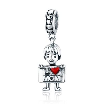 Conta pingente de prata 925 (I Love Mom)