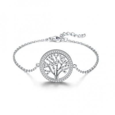 Pulseira de prata 925 com pedras zircão (Família - Árvore da vida)