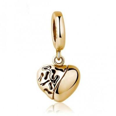 Conta pingente de prata 925 - cor ouro - compatível com pandora (coração)