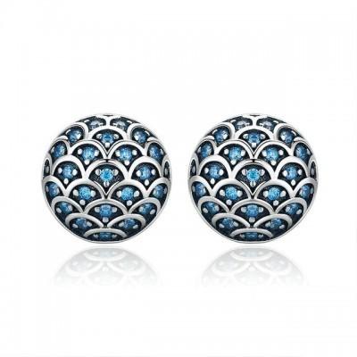 Brincos de prata 925 com pedras zircão compatíveis com Pandora (lendas do mar)