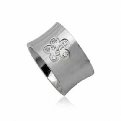 Aliança / anel de aço inoxidável (flor)