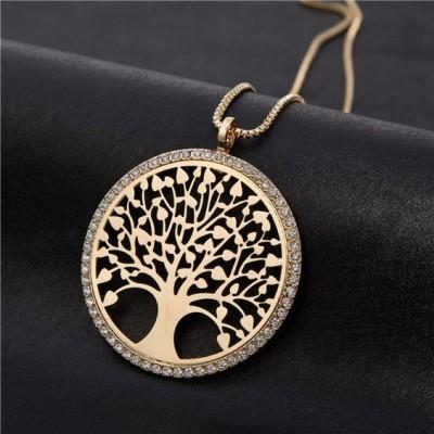 Colar / fio com pingente / pendente árvore da vida e cristais (cor ouro)