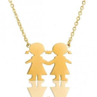 Fio com pingente / pendente de aço inoxidável cor ouro (meninas)