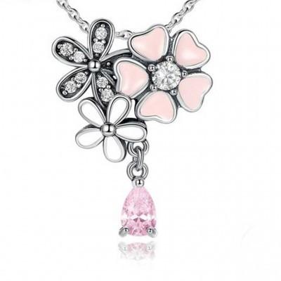 Pendente / Pingente de prata 925 compatível com Pandora (flores poéticas) com fio