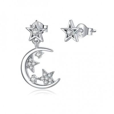 Brincos de prata 925 compatível com pandora (lua e estrelas)