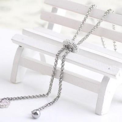 Colar de aço inoxidável com 3 pendentes (cristais, trevo, pérola)