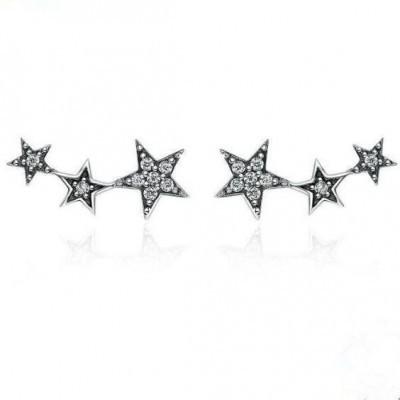 Brincos de prata 925 compatível com pandora (estrelas)